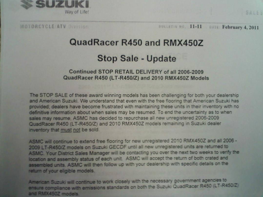 why did they stop making ltr450's - plz read - Suzuki LT-R450 Forum